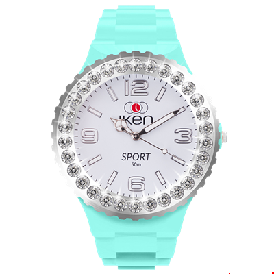 Picture of Aquamarine and White Sport Complete Watch with White Crystal Bezel