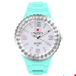 Aquamarine and White Sport Complete Watch with White Crystal Bezel