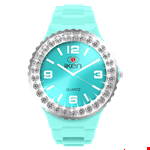 Aquamarine Complete Watch with White Crystal Bezel