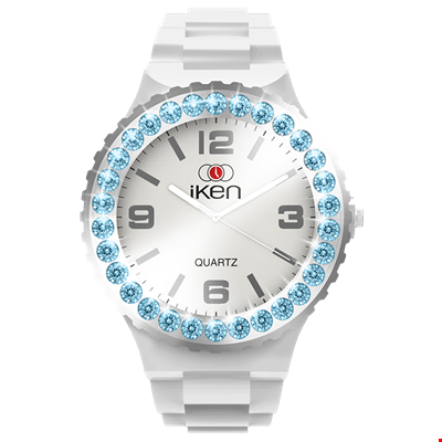 Picture of White Complete Watch with Aquamarine Crystal Bezel